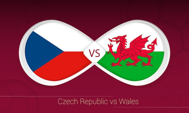 Чехия против уэльса в футбольном соревновании, группа e. против значка на футбольном фоне.