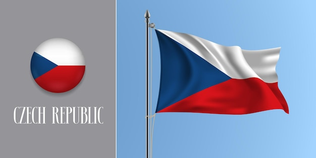 Чешская республика, развевающийся флаг на флагштоке и круглый значок. реалистичные 3d кнопки круга