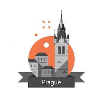 Вид на чешский город, туризм и путешествия