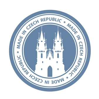 Czech travel stamp with prague symbol - church of our lady before tyn