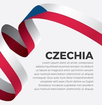 白い背景の上のチェコのリボンフラグベクトルイラストプレミアムベクトル