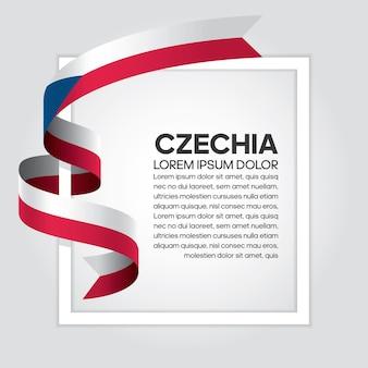 チェコのリボンの旗、白い背景の上のベクトル図