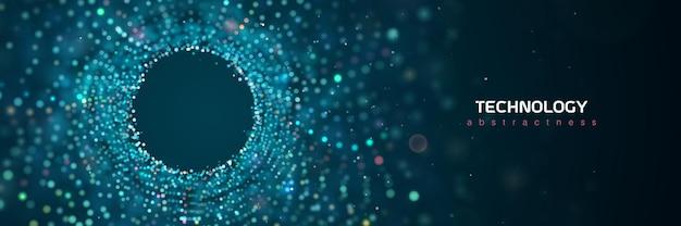 D 추상 기술 입자 벡터 파란색 배너 과학 의료 연구 큰 데이터 추상
