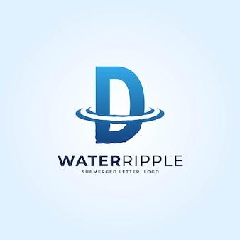 D青いグラデーション文字水波紋スプラッシュ波ダイナミックロゴベクトルアイコンイラスト