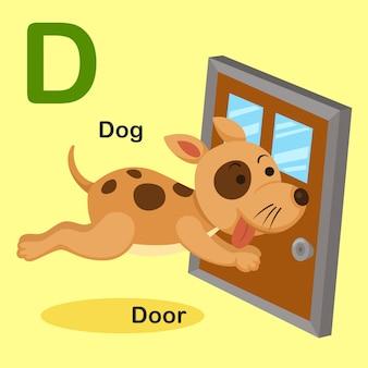 Иллюстрация изолированных животных алфавит буква d-dog, дверь