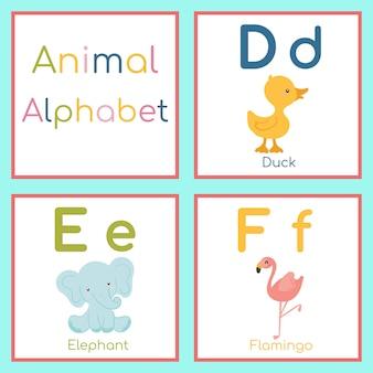 かわいい動物アルファベット。 d、e、f文字。アヒル、ゾウ、フラミンゴ。
