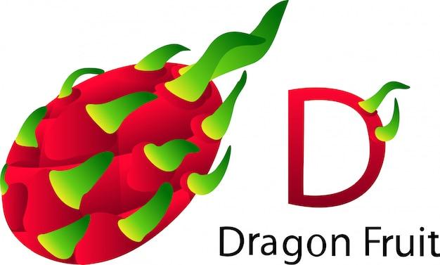 D font with dragon fruit Premium Vector
