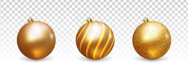 D golden christmas balls