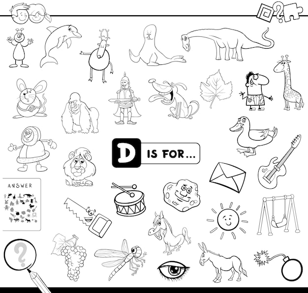 D is for educational game coloring book