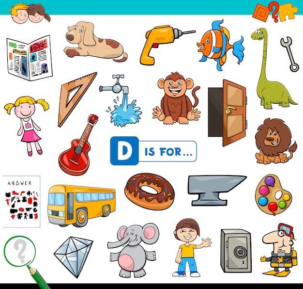 D is for educational task for children