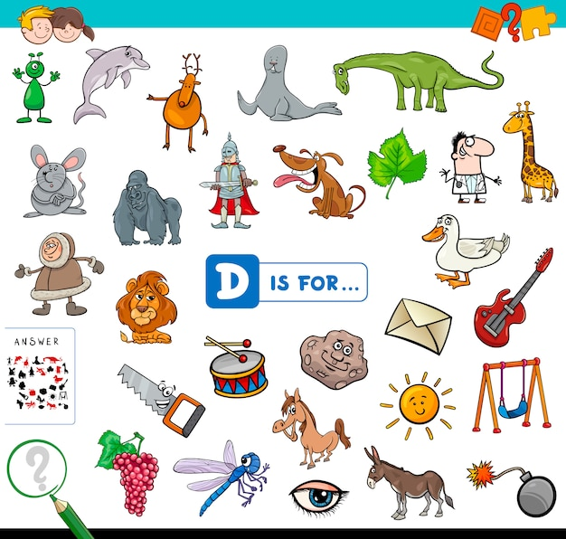Dは子供のための教育的なゲームのためのものです