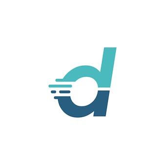 D letter dash lowercase tech digital fast quick delivery movement blue logo vector icon illustration