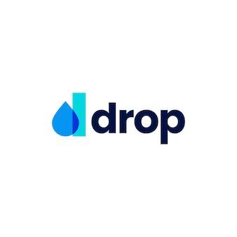D letter drop droplet overlapping color logo