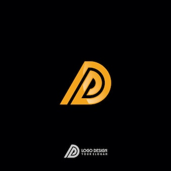 D letter gold monogram logo design