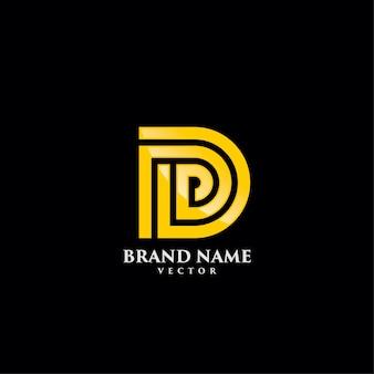 D letter gold monogram logo template