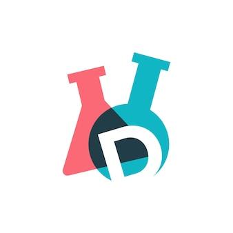 D letter lab laboratory glassware beaker logo vector icon illustration