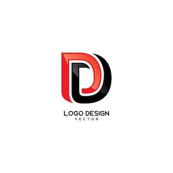D letter logo template vector