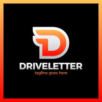D letter logo with a two wing. dynamic drive letter logotype