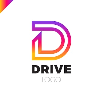 D letter logotype dynamic drive letter emblem