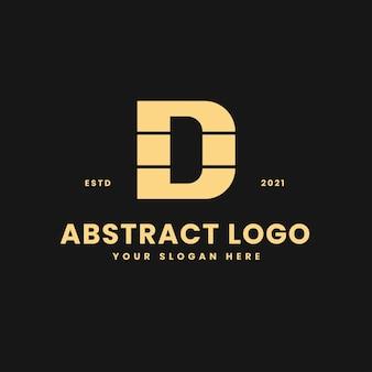 D letter luxurious gold geometric block concept logo vector icon illustration