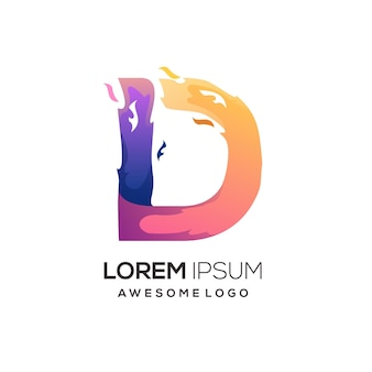 D letter with fire colorful logo gradient illustration