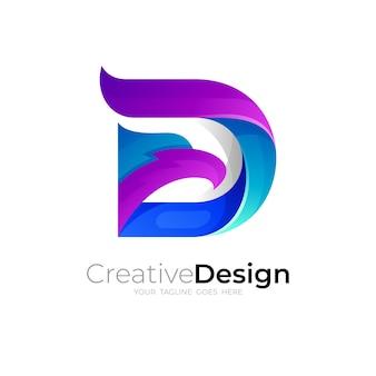 Dロゴとイーグルデザインの組み合わせ、3dカラフル