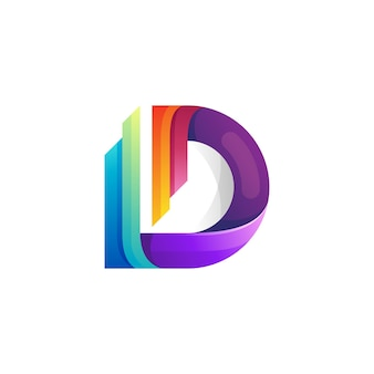 D logo and colorful design template, 3d style