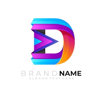 D logo with colorful play icons 3d colorful