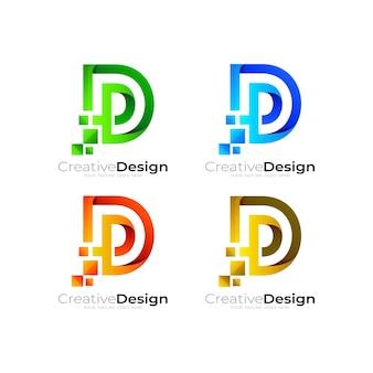Логотип d с технологией пиксельного дизайна