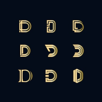 D luxury text logo set