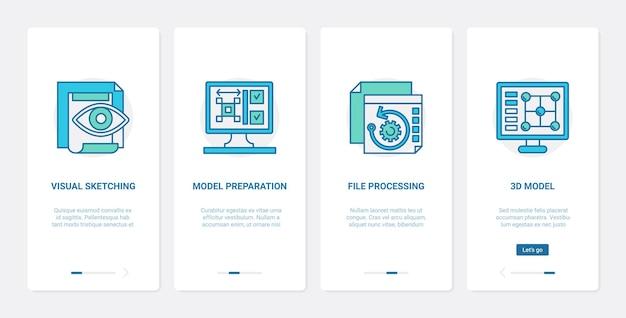 Dモデルファイル処理デザインuxuiオンボーディングモバイルアプリページ画面技術セット