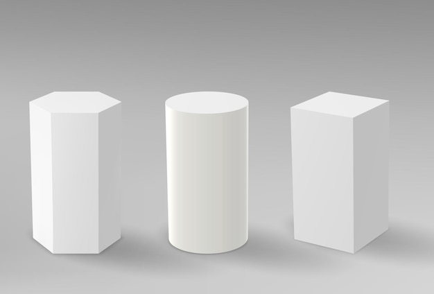 D pedestals or podium geometric empty museum stages