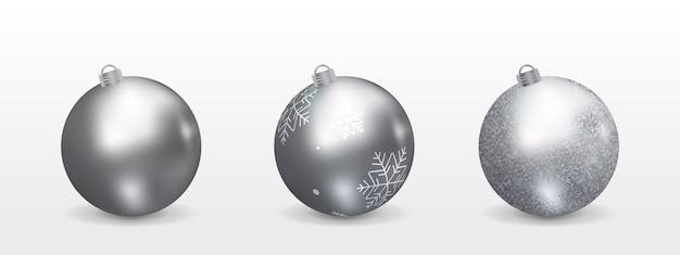 D silver christmas balls