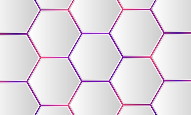 D white hexagonal technology colored abstract background