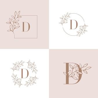 蘭の葉の要素を持つ文字dロゴデザイン