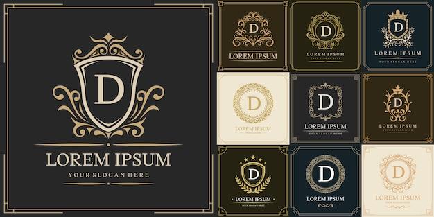 Набор шаблонов логотипа класса люкс, буквица d