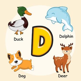 Буква d симпатичные животные алфавит