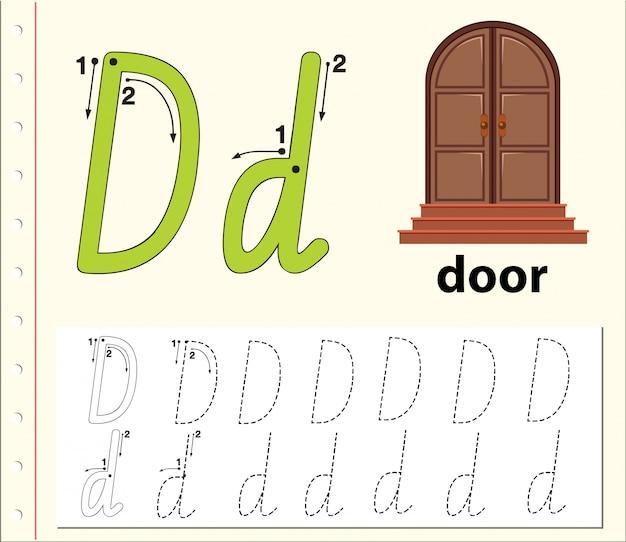 Буква d отслеживает алфавит листы