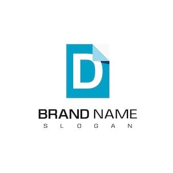 Буква d, вдохновение для дизайна логотипа документа