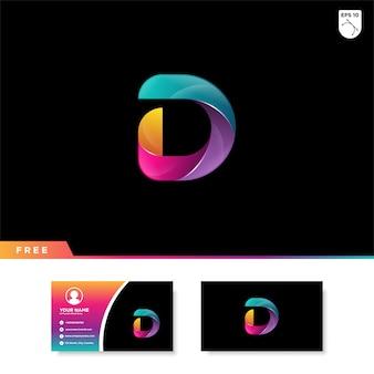 グラデーションカラーの文字dのクリエイティブロゴ