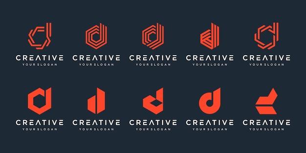 創造的な手紙dロゴデザインテンプレートのセット。豪華でエレガント、シンプルなビジネスのためのアイコン。