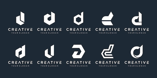 創造的なモノグラム文字dロゴデザインテンプレートのセット。ロゴは会社の建設に使用できます。