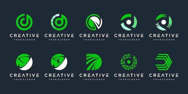 創造的なモノグラム文字dロゴデザインテンプレートのセット。ロゴは、テクノロジー、デジタル、ラボ、金融会社に使用できます。