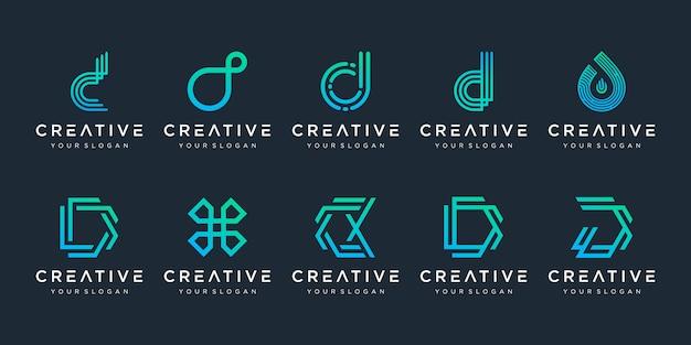 創造的なモノグラム文字dロゴデザインテンプレートのセット。ロゴは、テクノロジー、デジタル企業に使用できます。