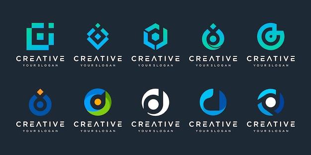創造的な手紙dロゴデザインテンプレートのセットです。テクノロジー、デジタル、シンプルなビジネスのロゴタイプ。