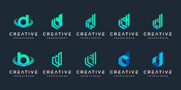 創造的なモノグラム文字dロゴテンプレートのセット。ロゴは会社の建設に使用できます。
