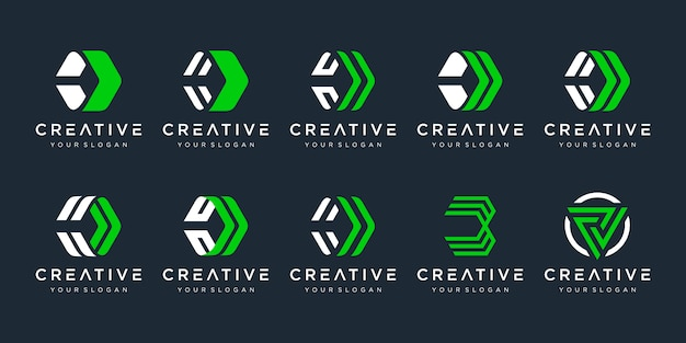 創造的な手紙dロゴテンプレートのセットです。技術とデジタル、金融、マーケティング、輸送のビジネスのためのアイコン。