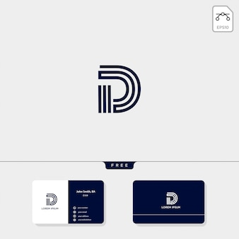 Исходный шаблон логотипа d, шаблон дизайна визитной карточки включают