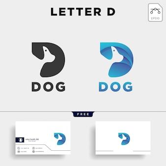 手紙d犬ペット動物ラインアートスタイルロゴ