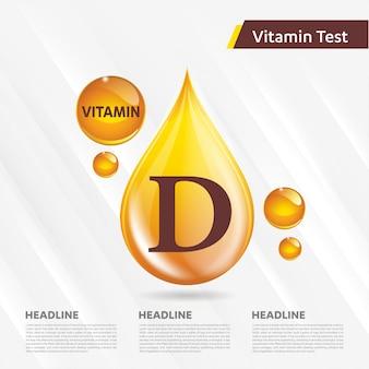 Витамин d солнце значок золотой шаблон